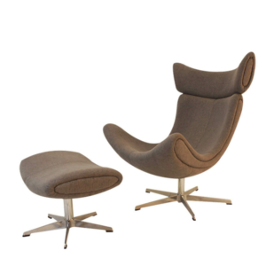 Kaban Chair With Ottoman In Metal Base