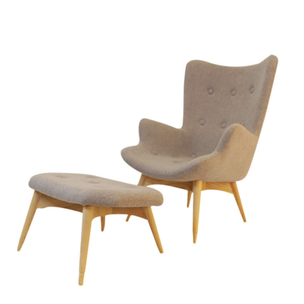 Kabana Chair With Ottoman In Wood Base
